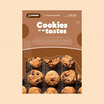 Chocolate cookies flyer vertical