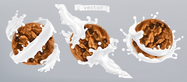Chocolate cookies and milk splash. 3d realistic  icon