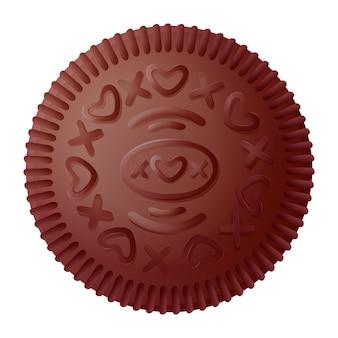 チョコレートクッキー。オレオンクリームビスケットブラックチョコレートクッキーを白い背景で隔離