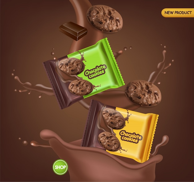 Chocolate cookies realistic mock up. delicious dessert falling cookies with chocolate splash. 3d detailed product package. label design posters