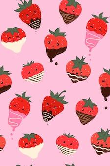 チョコレートで覆われたイチゴのシームレスなパターン。