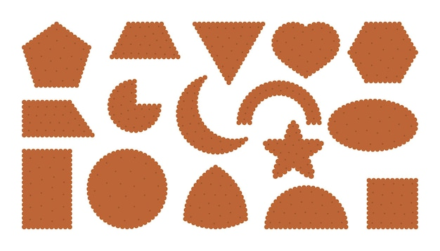 Chocolate cracker biscuit icons set breakfast snack in flat cartoon style collection tasty food cookies different shapes top view circle square heart pastry cookie isolated vector illustration