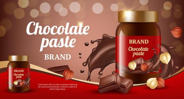 초콜릿 크림 광고. 맛있는 달콤한 갈색 페이스트 흐르는 먹는 제품