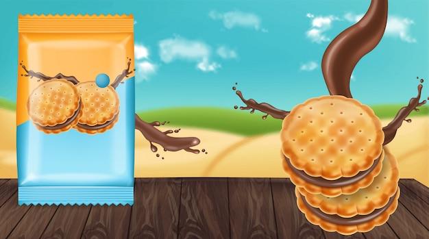 Chocolate cream cookies mock up