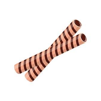 Вафельные палочки или рулетики с начинкой из шоколадного крема. сладкое печенье вафельного бисквита, изолированные на белом фоне. векторные иллюстрации шаржа.