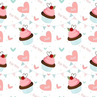 Chocolate cupcake and valentine elements seamless pattern