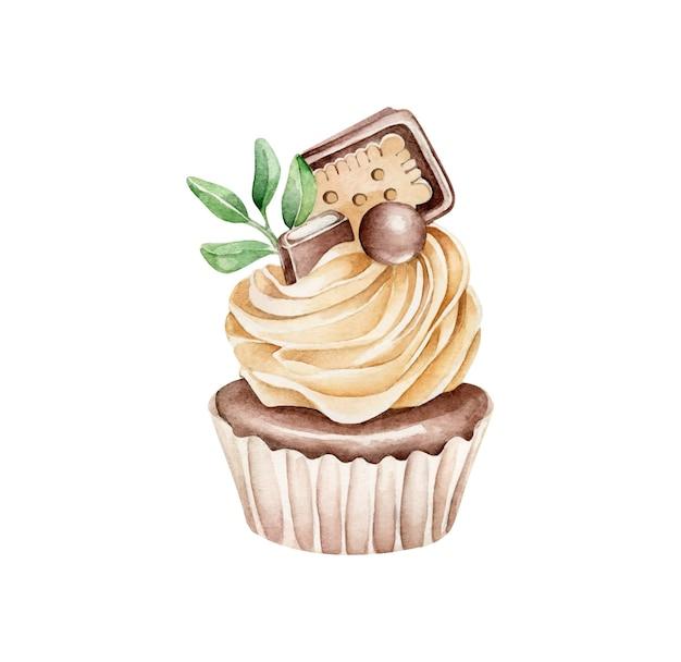 チョコレートカップケーキ水彩イラスト