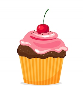 Chocolate cupcake with pink cream and cherry on white background.