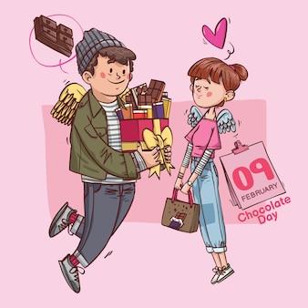초콜릿 데이 슈퍼 귀여운 사랑 쾌활한 로맨틱 발렌타인 커플 데이트 선물 손으로 그린 풀 컬러 일러스트