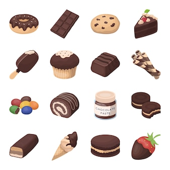 Chocolate dessert cartoon elements in set collection for design.