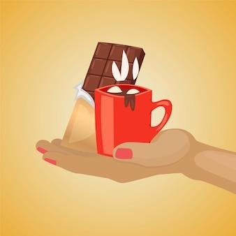 チョコレートデザートのイラスト。おいしいおいしいホットアロマチョコレートとマシュマロ、ブラックチョコレートバー、冬の背景の伝統的な甘いスナックとマグカップを持っている人間の手