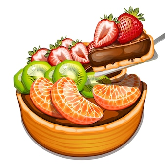Chocolate dessert with fruits topping