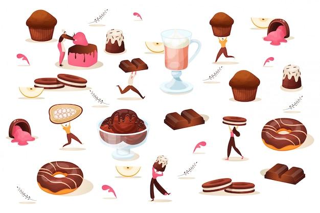 작은 사람들과 초콜릿 디저트 세트, 일러스트 레이 션. 사탕, 컵케익 및 쿠키, 달콤한 음식 및 음료. 남자 여자