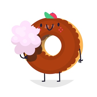 Chocolate donut character with cotton candy in hand illustration