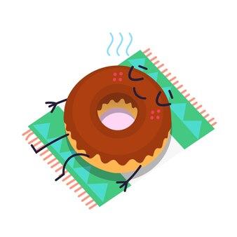 タオルの上で日光浴をするチョコレートドーナツのイラスト