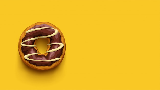 Chocolate donut top view on yellow