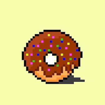 Шоколадный пончик в стиле пиксель-арт
