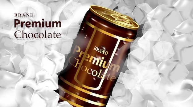 Chocolate drink tin can with chocolate and  dark brown color