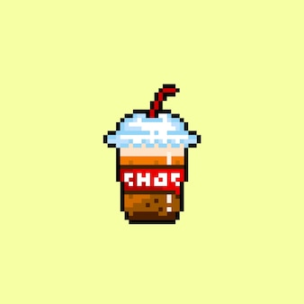 Chocolate drink with pixel art style