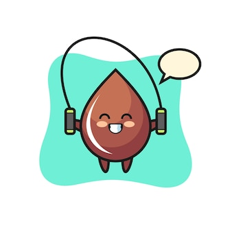 Chocolate drop character cartoon with skipping rope , cute style design for t shirt, sticker, logo element