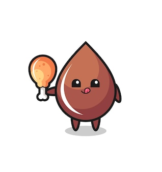 Chocolate drop cute mascot is eating a fried chicken , cute style design for t shirt, sticker, logo element