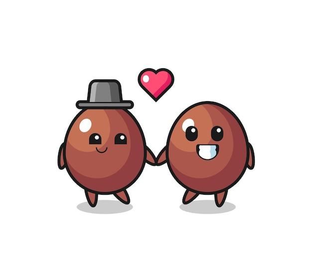 恋に落ちるジェスチャー、かわいいデザインとチョコレートの卵の漫画のキャラクターのカップル Premiumベクター