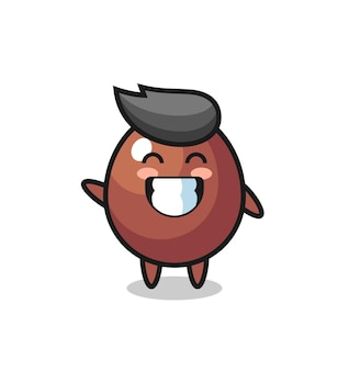Chocolate egg cartoon character doing wave hand gesture , cute design