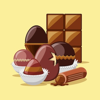 Chocolate egg and truffle with chocolate bar over yellow background
