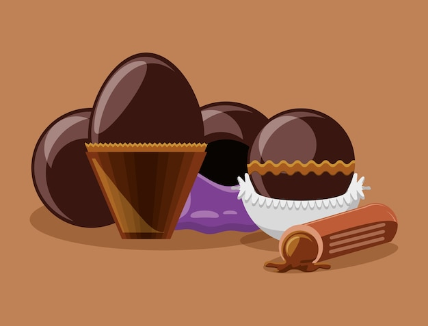 Chocolate egg and truffles over brown background
