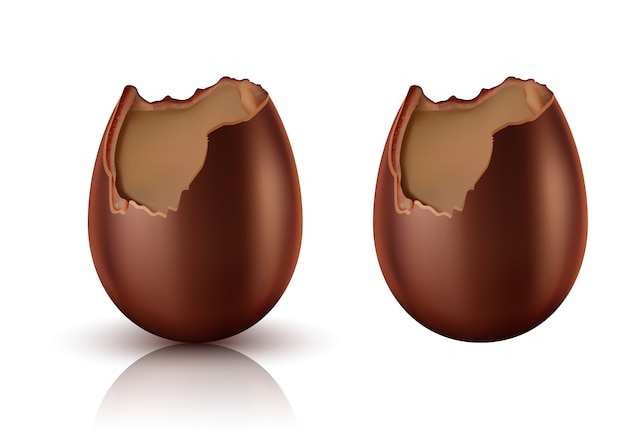 Chocolate egg whole and bitten realistic vector