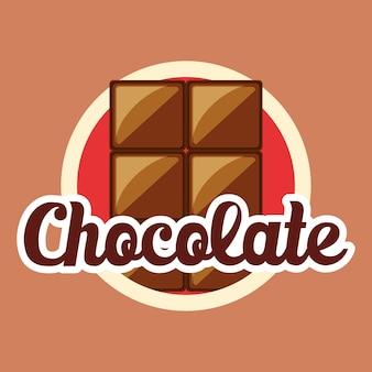 Chocolate emblem with chocolate bar icon over brown background