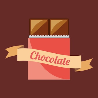 Chocolate emblem with decorative ribbon and chocolate bar icon over brown background