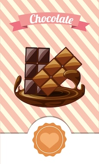 Chocolate emblem with decorative ribbon and chocolate bars icon