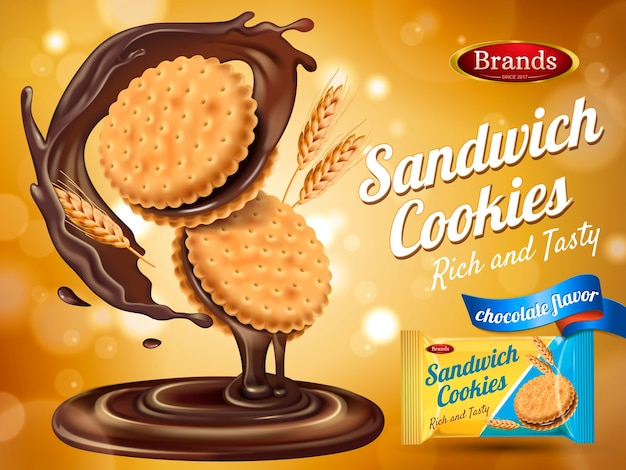 Chocolate flavor sandwich cookie ad with packaging and wheat elements