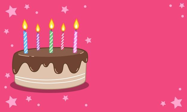 초코렛의 생일 케이크 그림 위에 촛불이 수놓아져 있습니다. 벡터 이미지