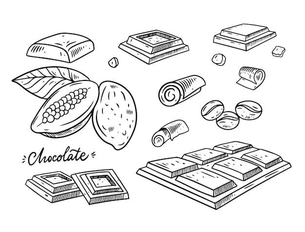 Шоколадная рука рисовать эскиз. стиль гравировки. черный цвет. изолированные на белом фоне.