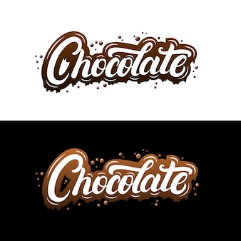 Chocolate hand written lettering with splashes and streaks.