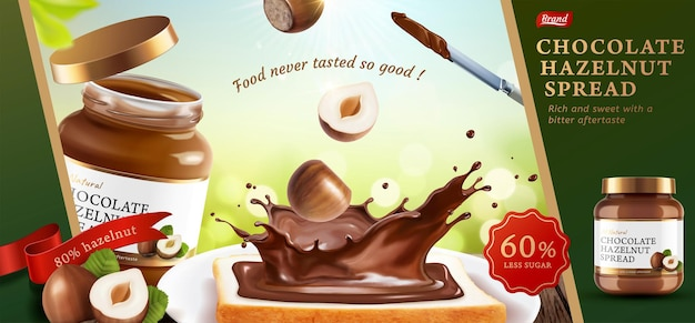 Chocolate hazelnut spread ads with delicious toast in 3d illustration