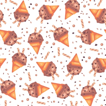 Chocolate ice cream cone seamless pattern