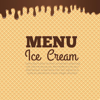 Chocolate ice cream flowing over waffle texture background