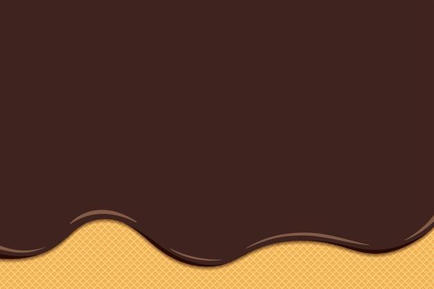 チョコレートアイスクリームの液体が溶けて、トーストしたワッフルの表面に流れます。艶をかけられたウエハーステクスチャ甘いケーキの背景。ベクトルフラットイラスト