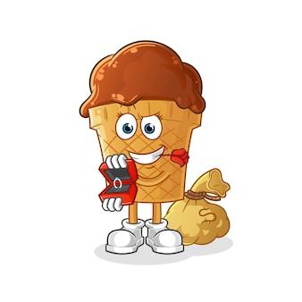 Шоколадное мороженое предлагает и удерживает кольцо персонажа.