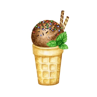Chocolate ice-cream scoops in waffle cone decorated with chocolate, mint leaves, waffles and candies. watercolor illustration