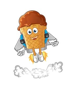 ジェットパックのマスコットとチョコレートアイスクリーム。