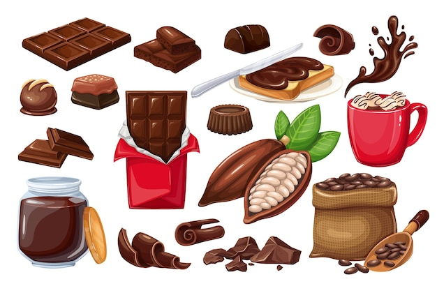 Chocolate icon set. candy, cocoa beans, chips, chocolate bar