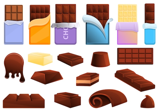 Chocolate icons set. cartoon set of chocolate  icons for web