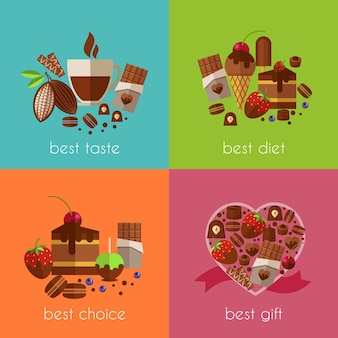 Chocolate is the best diet illustrations set.