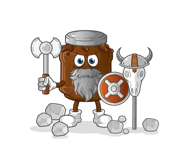 The chocolate jam viking with an ax.