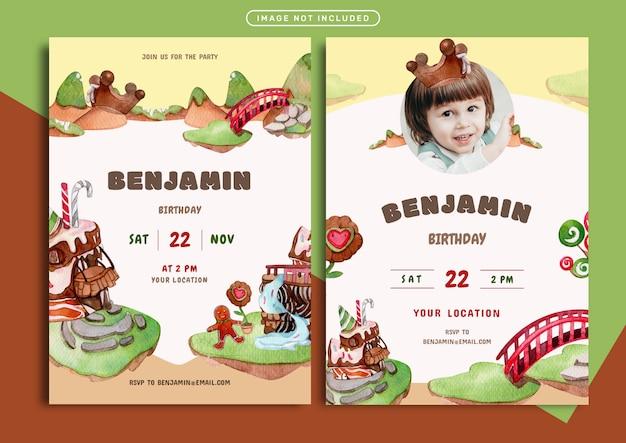 チョコレートの土地をテーマにした誕生日の招待カードテンプレート