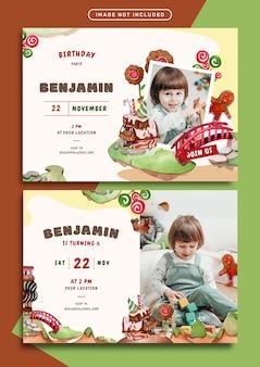 초콜릿 랜드 테마 생일 초대 카드 템플릿